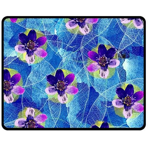 Purple Flowers Double Sided Fleece Blanket (Medium)