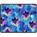 Purple Flowers Double Sided Fleece Blanket (Medium)  60 x50 Blanket Back
