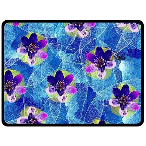 Purple Flowers Double Sided Fleece Blanket (Large)