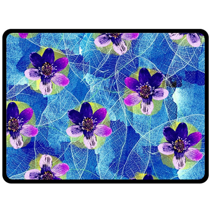 Purple Flowers Double Sided Fleece Blanket (Large)