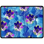 Purple Flowers Double Sided Fleece Blanket (Large)  80 x60 Blanket Back