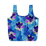 Purple Flowers Full Print Recycle Bags (M)  Front