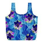 Purple Flowers Full Print Recycle Bags (L)  Front