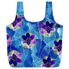 Purple Flowers Full Print Recycle Bags (l)