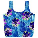 Purple Flowers Full Print Recycle Bags (L)  Back
