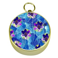 Purple Flowers Gold Compasses