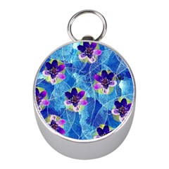 Purple Flowers Mini Silver Compasses