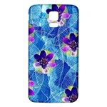 Purple Flowers Samsung Galaxy S5 Back Case (White) Front