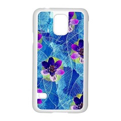 Purple Flowers Samsung Galaxy S5 Case (white)