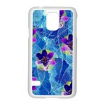 Purple Flowers Samsung Galaxy S5 Case (White) Front