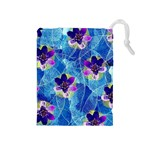 Purple Flowers Drawstring Pouches (Medium)  Front