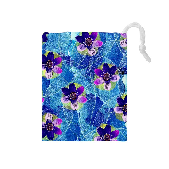 Purple Flowers Drawstring Pouches (Medium)