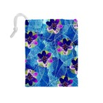 Purple Flowers Drawstring Pouches (Medium)  Back
