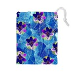 Purple Flowers Drawstring Pouches (Large)  Front