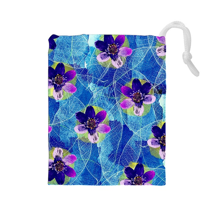 Purple Flowers Drawstring Pouches (Large)