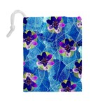 Purple Flowers Drawstring Pouches (Large)  Back