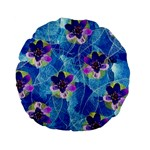 Purple Flowers Standard 15  Premium Flano Round Cushions Back