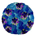 Purple Flowers Large 18  Premium Flano Round Cushions Back