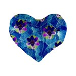 Purple Flowers Standard 16  Premium Flano Heart Shape Cushions Front