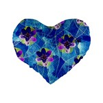 Purple Flowers Standard 16  Premium Flano Heart Shape Cushions Back