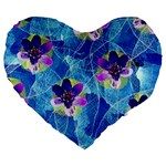 Purple Flowers Large 19  Premium Flano Heart Shape Cushions Front