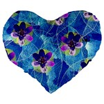 Purple Flowers Large 19  Premium Flano Heart Shape Cushions Back