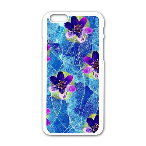 Purple Flowers Apple iPhone 6/6S White Enamel Case
