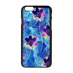 Purple Flowers Apple iPhone 6/6S Black Enamel Case Front
