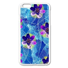 Purple Flowers Apple iPhone 6 Plus/6S Plus Enamel White Case