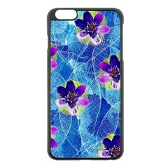 Purple Flowers Apple Iphone 6 Plus/6s Plus Black Enamel Case