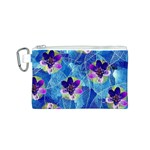 Purple Flowers Canvas Cosmetic Bag (S) Front