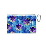 Purple Flowers Canvas Cosmetic Bag (S) Back