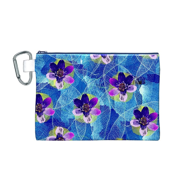 Purple Flowers Canvas Cosmetic Bag (M)