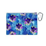 Purple Flowers Canvas Cosmetic Bag (M) Back