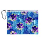 Purple Flowers Canvas Cosmetic Bag (L) Front