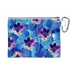 Purple Flowers Canvas Cosmetic Bag (L) Back