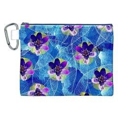 Purple Flowers Canvas Cosmetic Bag (XXL)