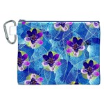 Purple Flowers Canvas Cosmetic Bag (XXL) Front