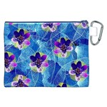 Purple Flowers Canvas Cosmetic Bag (XXL) Back