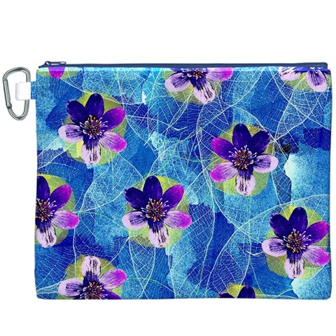 Purple Flowers Canvas Cosmetic Bag (XXXL)