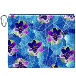 Purple Flowers Canvas Cosmetic Bag (XXXL) Front