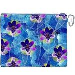 Purple Flowers Canvas Cosmetic Bag (XXXL) Back