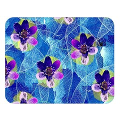Purple Flowers Double Sided Flano Blanket (Large)