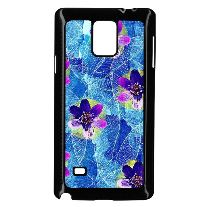 Purple Flowers Samsung Galaxy Note 4 Case (Black)