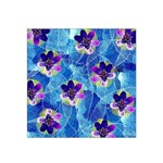 Purple Flowers Satin Bandana Scarf Front