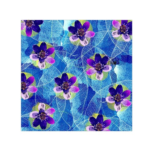 Purple Flowers Small Satin Scarf (Square)