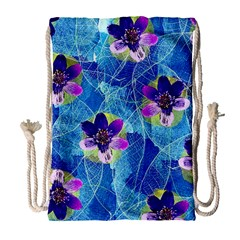 Purple Flowers Drawstring Bag (Large)