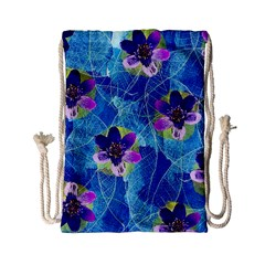 Purple Flowers Drawstring Bag (small)