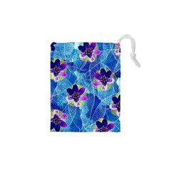 Purple Flowers Drawstring Pouches (XS)