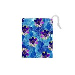 Purple Flowers Drawstring Pouches (XS)  Front